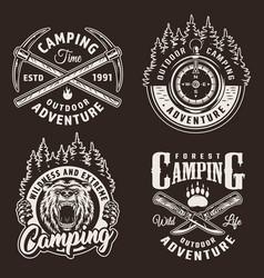 Monochrome camping logos vector