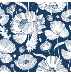 monochrome seamless pattern with gorgeous blooming vector image