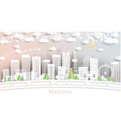 nagoya japan city skyline in paper cut style vector image