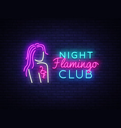 Night club neon logo flamingo neon sign vector