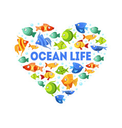 ocean life banner template with cute colorful vector image