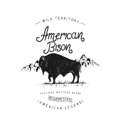 Old label with bison vector image