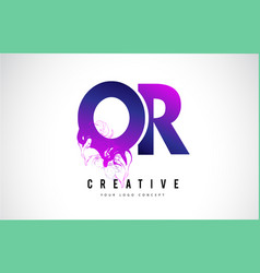 or o r purple letter logo design with liquid vector image