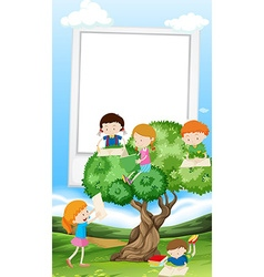 Paper template with children reading book vector