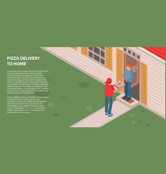 pizza delivery to home banner isometric style vector image