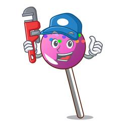 Plumber lollipop with sprinkles mascot cartoon vector