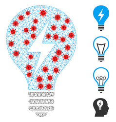 Polygonal wire frame electric bulb icon with vector