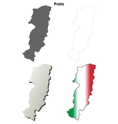 Prato blank detailed outline map set vector image