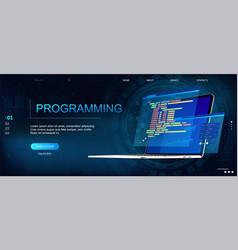 Programming webpage template vector