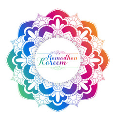 Ramadan kareem greeting with arabic floral pattern vector