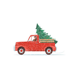 Red christmas truck with green fir tree at the vector