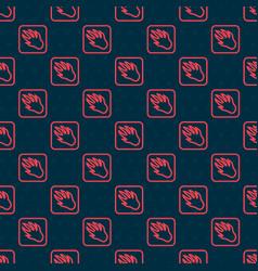 Red line alligator crocodile paw footprint icon vector