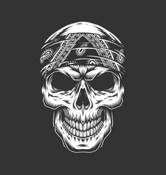 Rock and roll skull with bandana vector