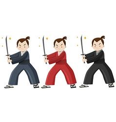 Samurai in three colors costume vector