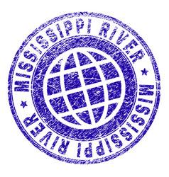 Scratched textured mississippi river stamp seal vector