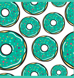 seamless pattern mint donuts vector image