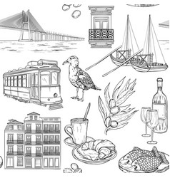 seamless pattern with portuguese sketches vector image