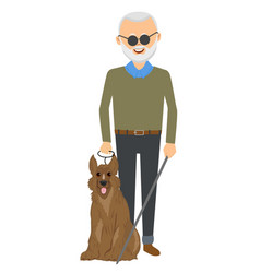 Senior blind man standing with guide dog vector