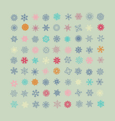set colorful snowflakes icons vector image