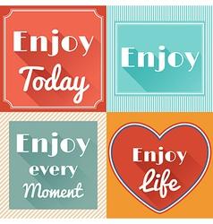 set enjoy life motivating retro cards design vector image