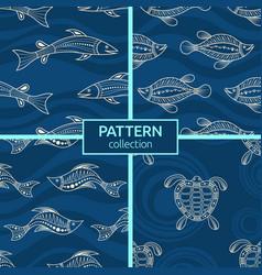 Set four seamless fashion colorful fish vector