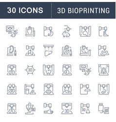 Set line icons 3d bioprinting vector