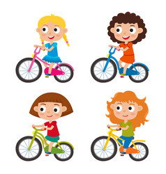 Set of cartoon girls riding a bike having fun vector