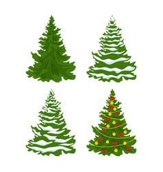 Set of christmas trees with snow vector
