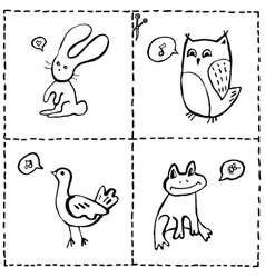 set of cut out cards with cute animals hand drawn vector image