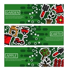 Set of Horizontal Banners about garden vector image