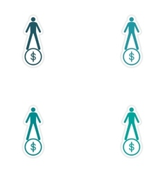 Set of stylish sticker on paper man on coin vector