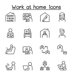 set work at home line icons contains vector image