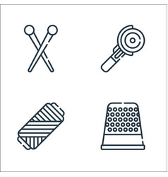 Sewing line icons linear set quality line set vector