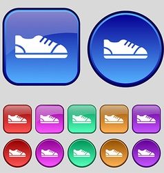 Shoe icon sign a set of twelve vintage buttons for vector