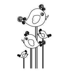 Silhouette cute cartoon birds set with swirl vector