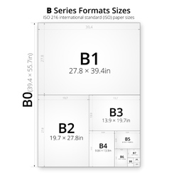 Size of format B paper sheets vector