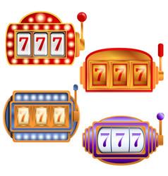 Slot machine icons set cartoon style vector