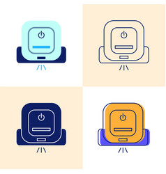 Smart robot mop icon set in flat and line styles vector