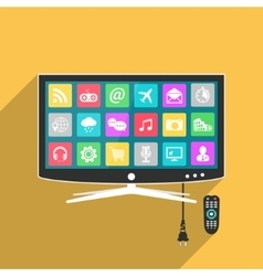 Smart tv with remote control vector