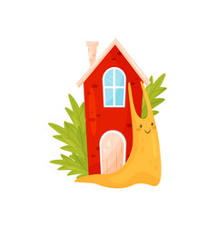 Smiling snail with red cozy house on its back vector