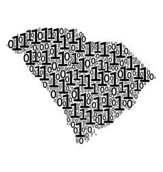 South carolina state map mosaic of binary digits vector