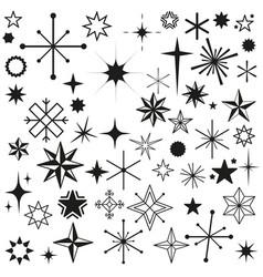 Stars sparkles black set symbols vector