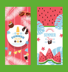 summertime sale vertical typographic banner vector image