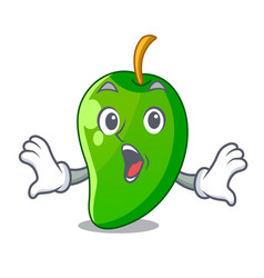 Surprised green mango in the cartoon shape vector