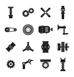 Techno mechanisms kit icons set simple style vector