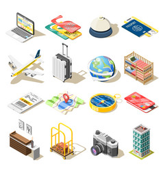 Travel isometric icons vector