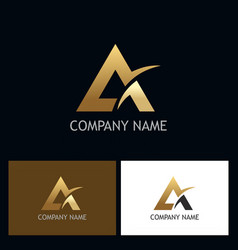 triangle gold letter a company logo vector image