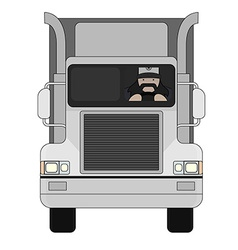 Trucker inside cargo car vector