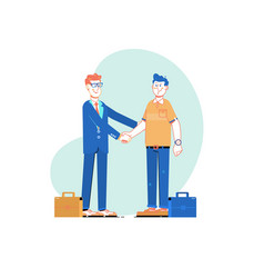 two businessmen shake handsbusiness partnership vector image