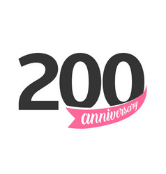 Two hundred anniversary logo number 200 vector